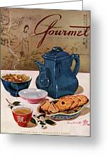 A Chinese Tea Pot With Tea And Cookies Greeting Card