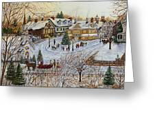 A Christmas Village Greeting Card by Doug Kreuger
