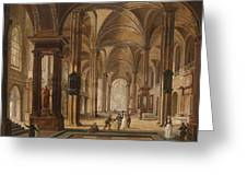 A Church Interior With Elegant People Greeting Card