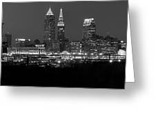 A Cleveland Black And White Night Greeting Card