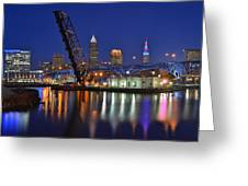 A Cleveland Ohio Evening On The River Greeting Card