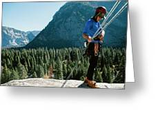 A Climber At The Top Of Pitch 3 On Swan Greeting Card