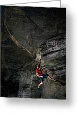 A Climber On A Rock Face Greeting Card