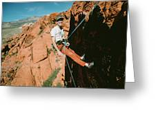 A Climber On Panty Wall In Red Rock Greeting Card