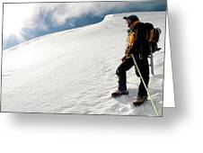 A Climber On The Glacier Of Cotopaxi Greeting Card