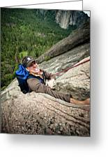 A Climber Reaches His Hand In A Crack Greeting Card