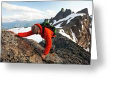 A Climber Scrambles Up A Rocky Mountain Greeting Card