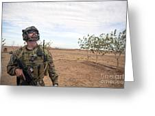 A Coalition Force Member Looks For Air Greeting Card