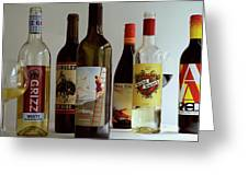 A Collection Of Wine Bottles Greeting Card