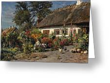 A Cottage Garden With Chickens Greeting Card