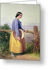 A Country Girl Standing By A Fence Greeting Card