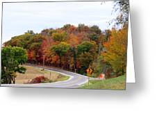 A Country Road In Autumn Greeting Card