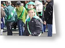A Couple Girls Enjoying Themselves In The 2009 New York St. Patrick Day Parade Greeting Card