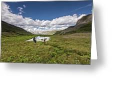 A Couple Hiking Through A Field Greeting Card