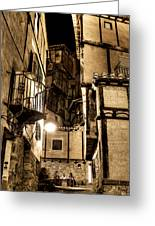 A Couple In A Little Restaurant In The Ancient City Of Albarracin Greeting Card