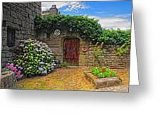 A Courtyard In Brittany France Greeting Card