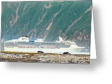 A Cruise Ship Passes By A Wolf Roaming Greeting Card