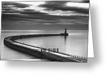 A Curving Pier With A Lighthouse At The Greeting Card