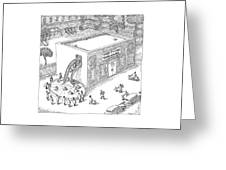 A Day Care Is Seen With Children Riding Greeting Card