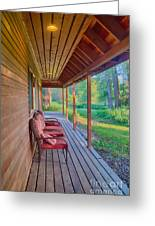 A Deck By The Methow River At Cottonwood Cottage Greeting Card