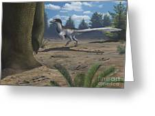 A Deinonychosaur Leaves Tracks Greeting Card by Emily Willoughby