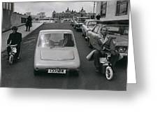 A Demonstration Of Electric Vehicle In London Greeting Card