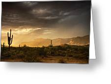 A Desert Monsoon Sunset  Greeting Card