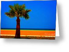 A Digitally Converted Painting Of A Lone Palm Tree At The Seaside Greeting Card