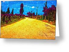 A Digitally Converted Painting Of An Empty Country Lane Greeting Card