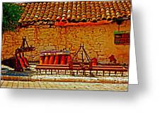 A Digitally Converted Painting Of Farm Machinery In A Turkish Village Greeting Card