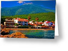 A Digitally Converted Painting  Of Luxury Beachside Villas Greeting Card