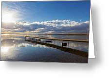 A Dock Leading Out Into The Lake At Greeting Card