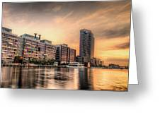 A Docklands Sunset Greeting Card