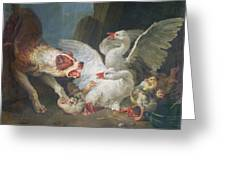 A Dog Attacking Geese, 1769 Oil On Canvas Greeting Card