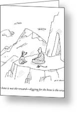 A Dog Speaks To A Guru On Top Of A Mountain Greeting Card