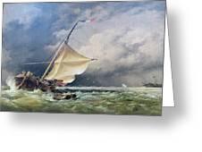 A Dutch Beurtman Aground Greeting Card