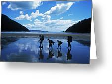 A Family Of Hikers Walks Greeting Card