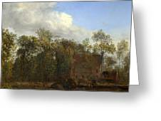 A Farm Among Trees Greeting Card