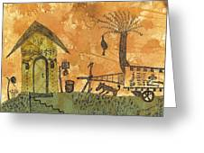A Farm In India With Hut And Bull Cart Greeting Card