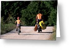 A Father And Son Ride Their Bikes To Go Greeting Card