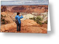 A Female Hiker Looking Greeting Card