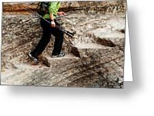 A Female Hiker Walking Up Steps Chopped Greeting Card