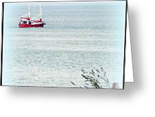 A Fine Day For A Red Boat Greeting Card