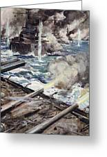 A Fleet Of Battleships Firing Greeting Card