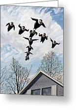 A Flock Of Flying Nuns Greeting Card