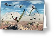 A Flock Of Thalassodromeus Pterosaurs Greeting Card