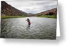 A Fly Fisherman Mends While Fishing Greeting Card
