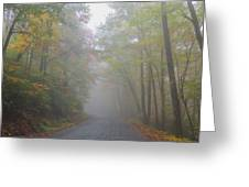 A Foggy Drive Greeting Card by Judy  Waller