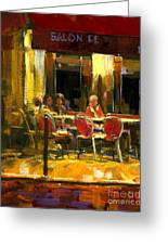 A French Cafe And Friends Greeting Card