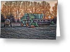 A Frosty John Deere Turbo 7700 Combine Greeting Card